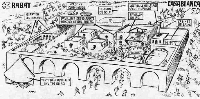 Tekening van het paleis van Skhirat