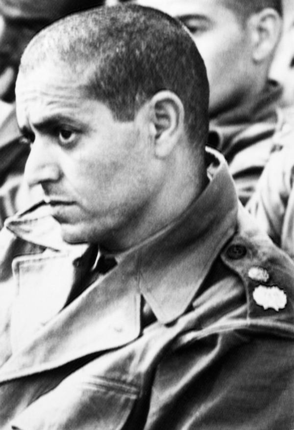 Luitenant-kolonel Mohamed Ababou tijdens zijn proces in januari 1972